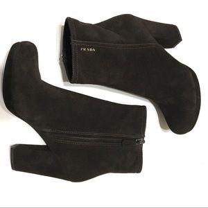 Prada Block Heel Ankle Booties Brown Leather SZ7.5